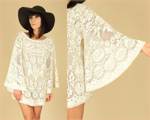 6e9601daf8 HANDMADE ViNtAgE 70s Lace ANGEL Wing Floral Sheer MiNi Dress