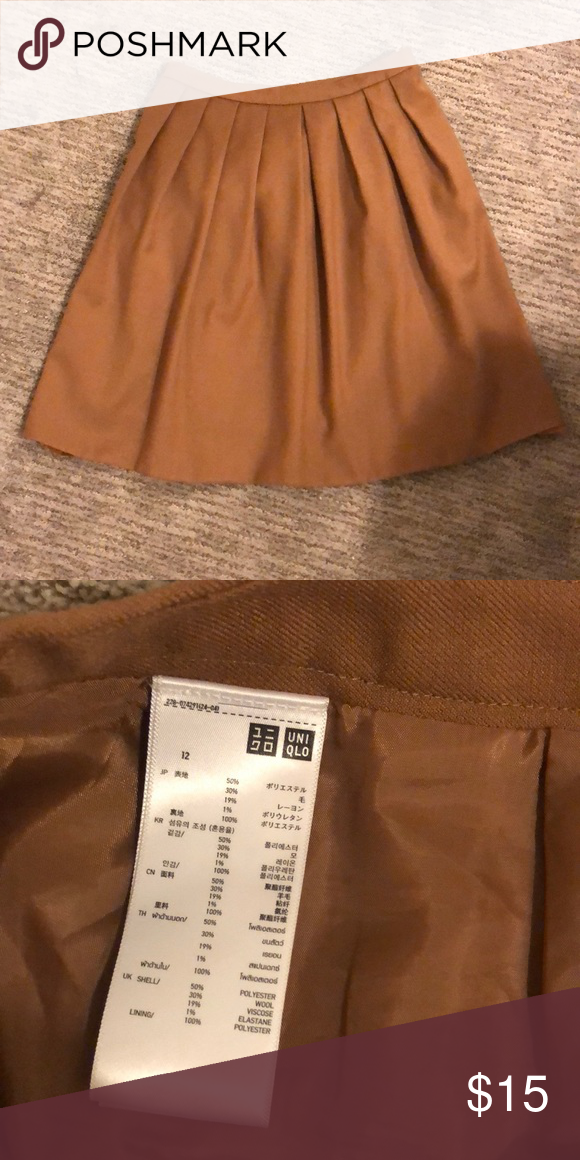 Uniqlo pleated wool skirt in camel