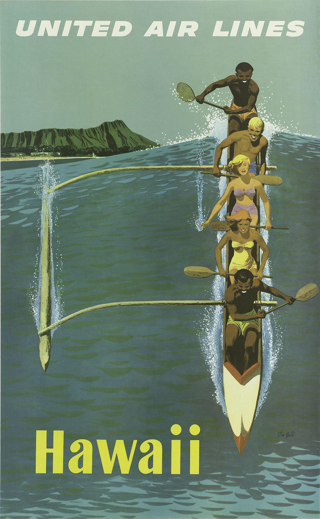 Vintage United Airlines Hawaii Poster