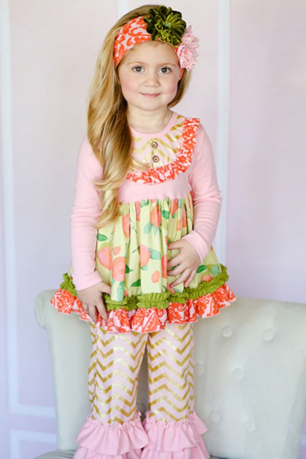 Giggle Moon Stella Dress with Ruffle Pants Harvest Fields PREORDER  78.00 a09d6ddeded0