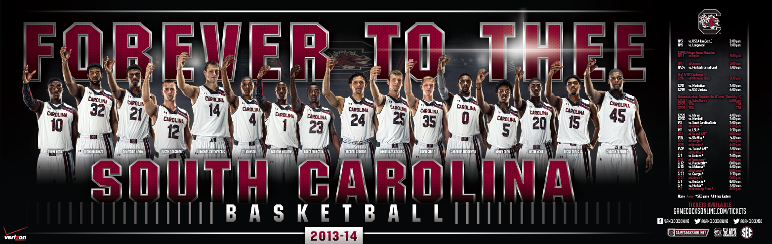 South Carolina 2013 Men S Basketball Poster Basketball Posters Team Poster Ideas Basketball