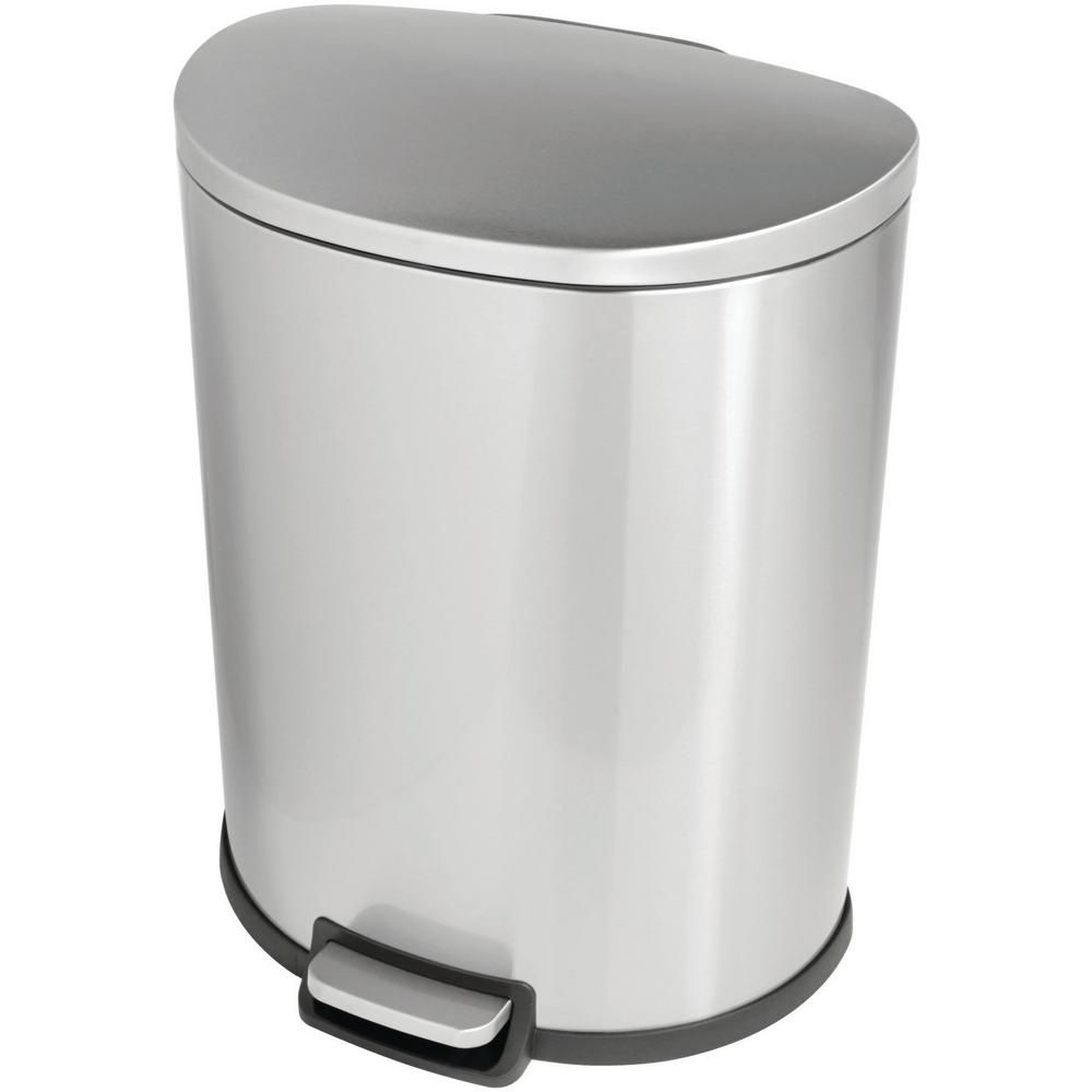 Stylewell 13 Gal Stainless Steel D Shaped Step On Trashcan Silver In 2021 Kitchen Storage Kitchens Luxury Garbage Can Storage Stainless steel kitchen trash can