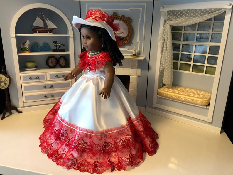 Price Reduced - 18 American Girl Doll - Victorian Red & White Ballgown and Accessories #dollvictoriandressstyles