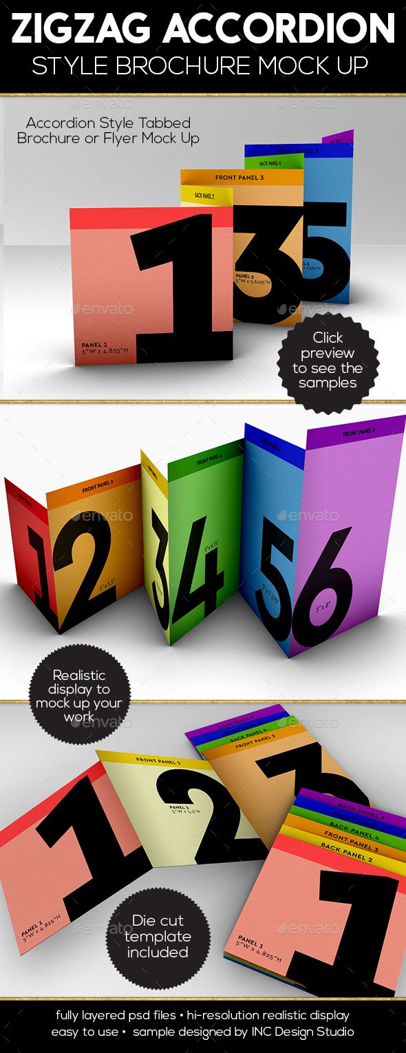 accordion zigzag brochure mock up brochures mockup and font logo