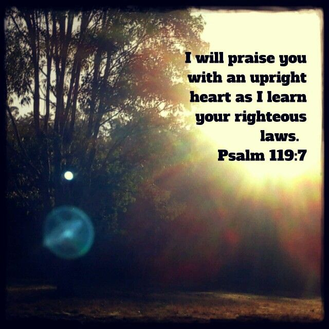 I will praise you with an upright heart as I learn your righteous laws.  Psalm 119:7 NIVUK