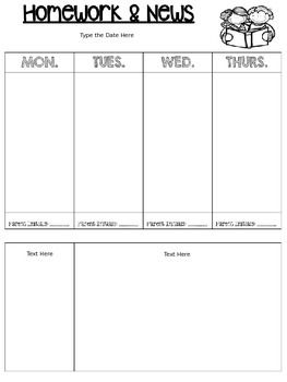 EDITABLE* Homework and News Template in 2018 | Weekly | Pinterest ...