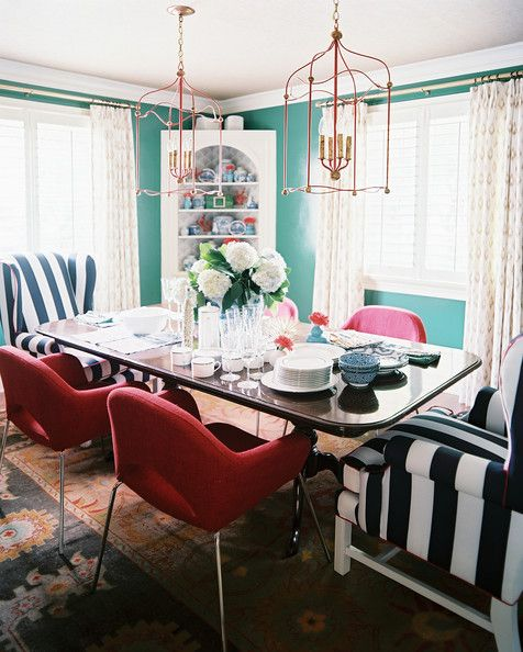 Amazing Dining Room Photo   Striped Wingback Chairs In A Dining Space