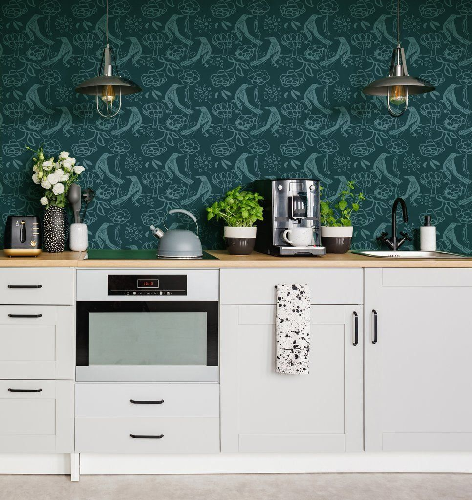 Can You Wallpaper A Kitchen Yes You Can And Here S How 1000 Kitchen Wallpaper Wallpaper Backsplash Kitchen Top Kitchen Trends