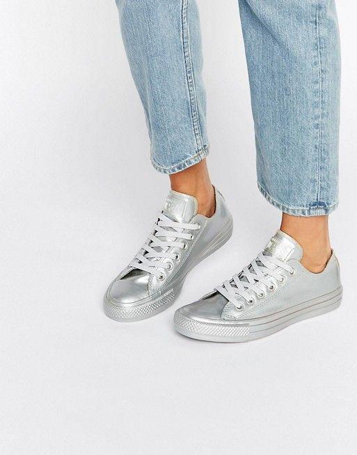 zapatos converse plateados
