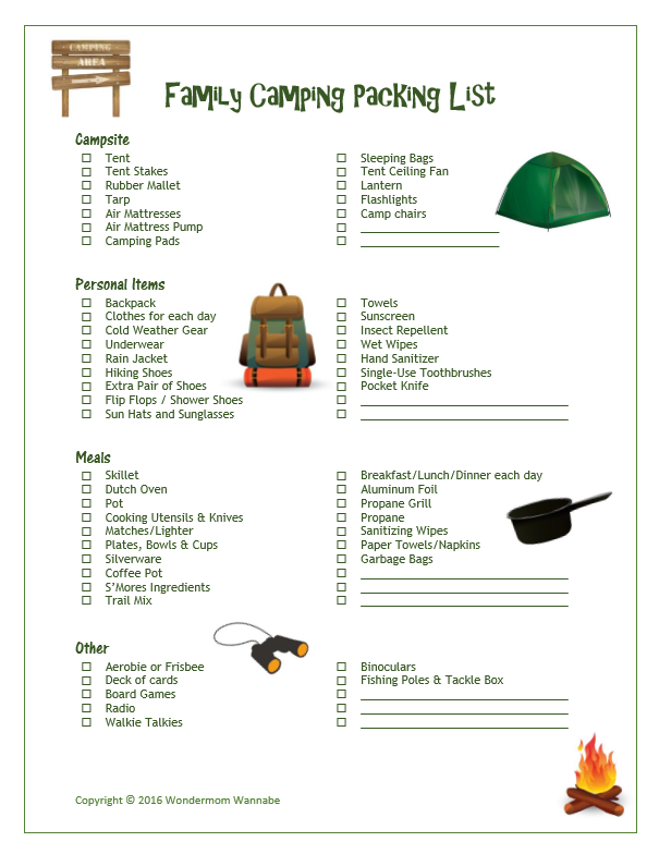 Don't head off to the wilderness with family unprepared. Use this free  printable family camping packing list to make sure you have everything  you'll need.