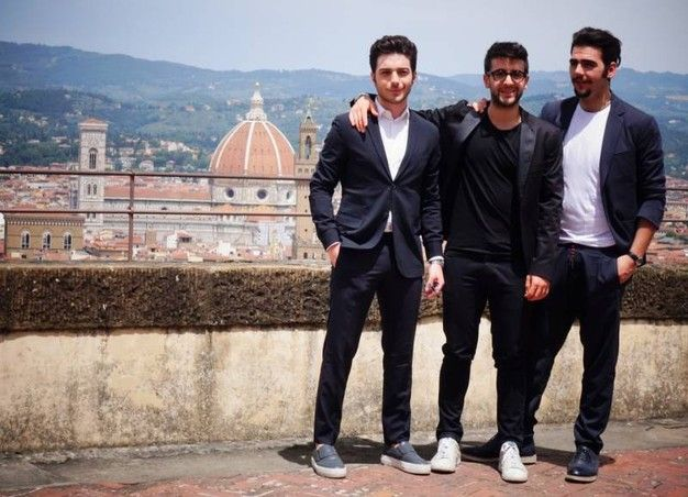 Il Volo e il sindaco Nardella presentano il concerto del primo luglio a Firenze, in piazza Santa Croce (foto Gianluca Moggi/New Pressphoto)