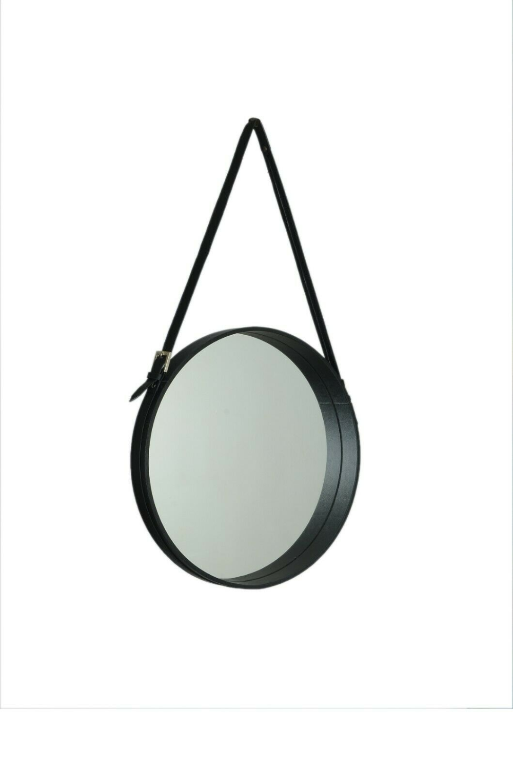 Black Leather Strapped Wall Hanging Round Circular Bathroom Gubi Mirror 15 Ebay Round Decor Mirror Decor Mirror
