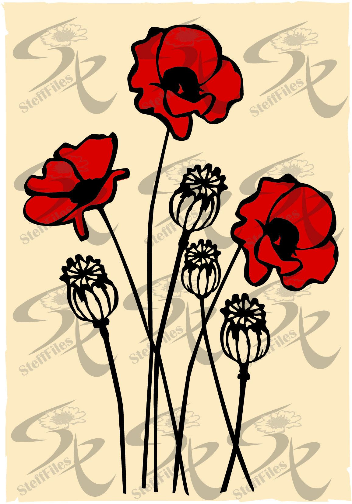 Vector POPPY FLOWERS 2 colors,clipart,SVG,dxf,ai, png, eps