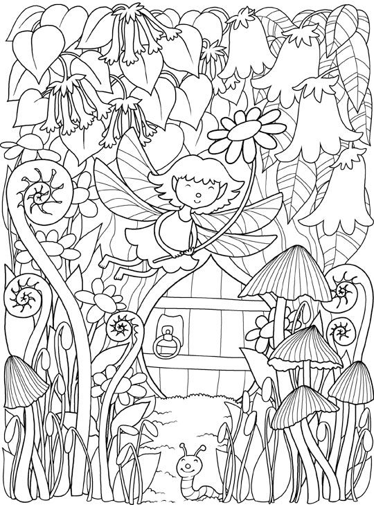 Inkspirations Inthegarden Cute Fairy Garden Coloring Books Coloring Book Pages Dover Coloring Pages