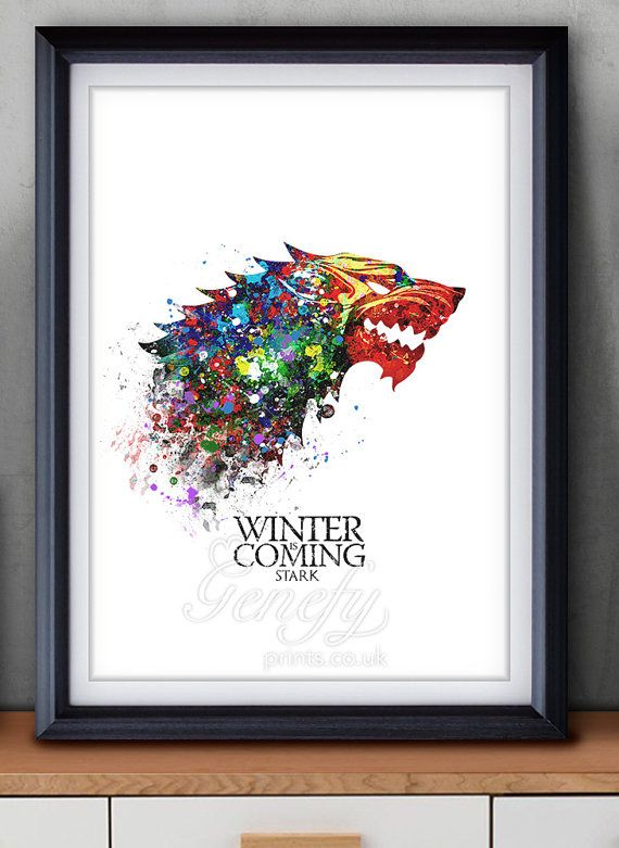 Game of Thrones House Stark Watercolor Art Poster Print - Game of ...