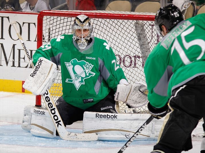the best attitude a5876 7c493 Jeffrey and Fleury warming up for a St. Patrick's Day game ...