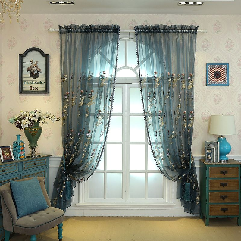 European Luxury Embroidered Organza Curtain Fabric With Floral