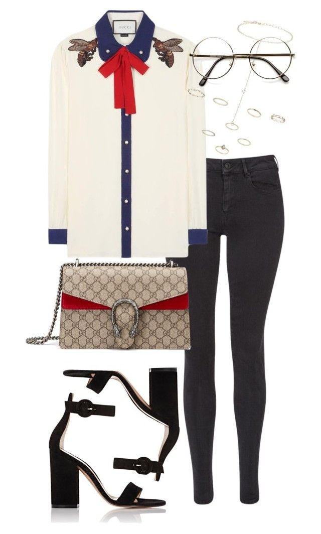 """Untitled #4779"" by sheryl798 ❤ liked on Polyvore featuring Maison Scotch, Gucci, Gianvito Rossi and Topshop"