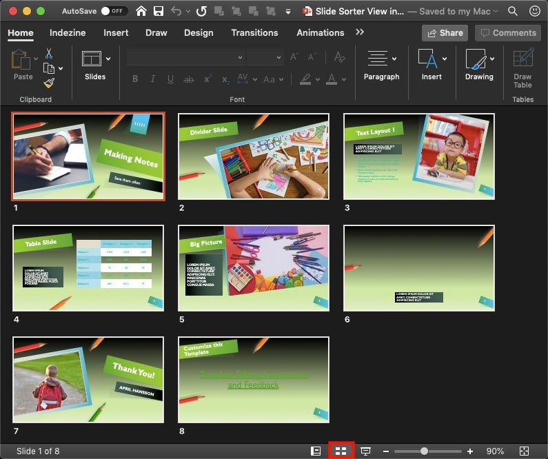 Slide Sorter View in PowerPoint 365 for Mac Mac