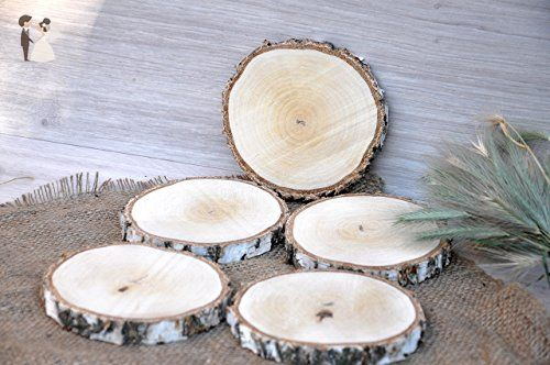 Set Of Five 5 5 5 Birch Wood Slices Wooden Coasters Glass Holders Wedding Centerpieces Wood Centerpieces Rustic Baby Shower Decorations Rustic Wedding Decor