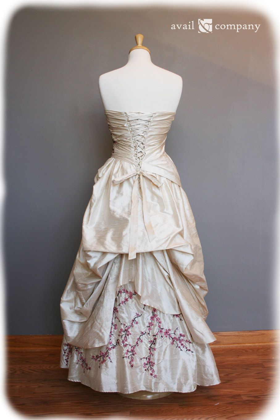 Cherry blossom wedding dress pink and brown on pearl silk duppioni
