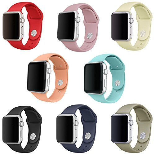 Sailfar Silicone Replacement Wristbands For Apple Watch Version 1 Series 2 38mm Large 8 Pieces Click Apple Watch Silicone Band Apple Watch Bands Apple Watch
