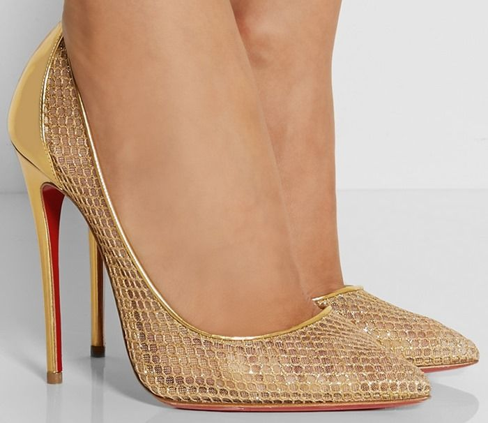 christian louboutin high heels gold