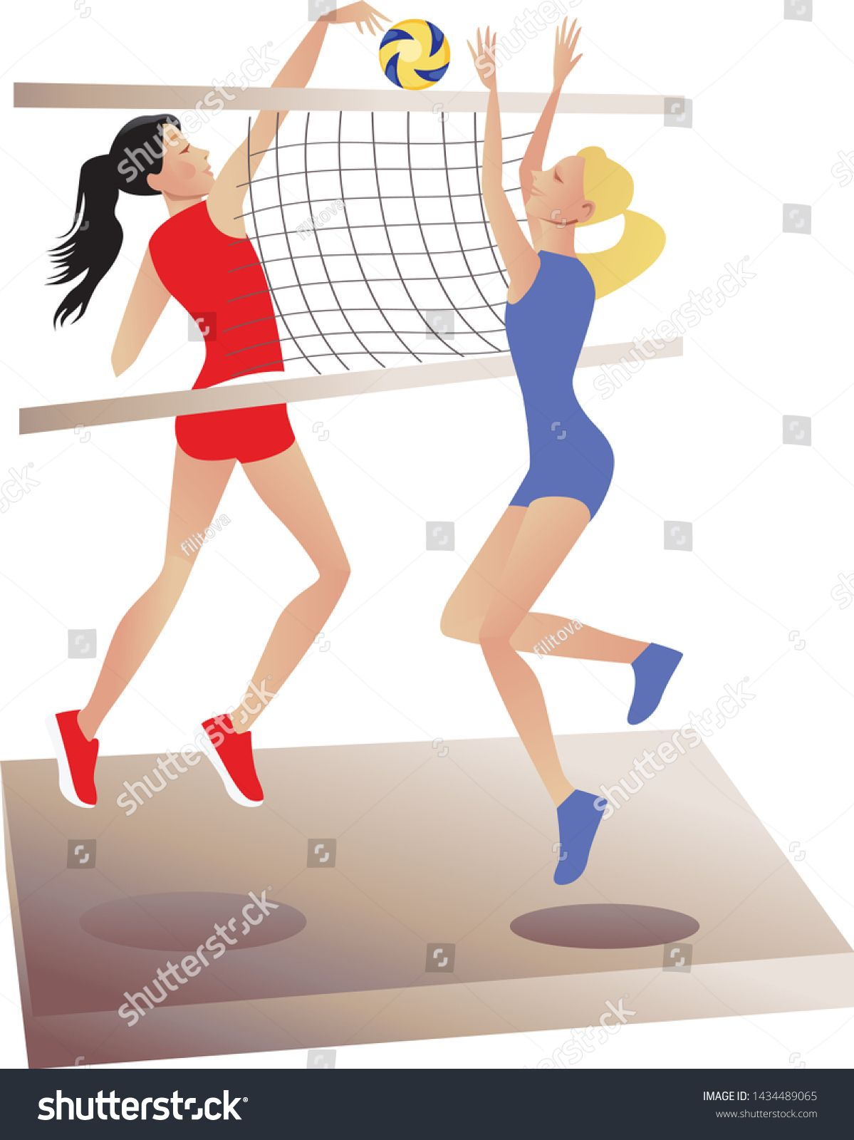 Volleyball Players Two Girls Playing Volleyball Sports Games Ball Games Vector Graphics Ad Ad Girls Play In 2020 Volleyball Players Two Girls Play Volleyball