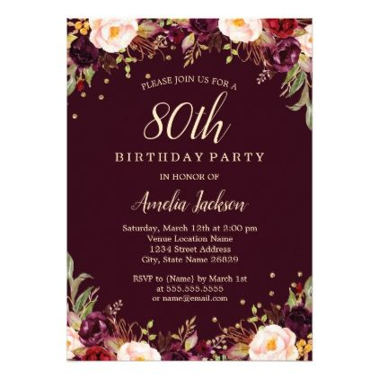 Gold Burgundy Elegant Floral 80th Birthday Party Invitation