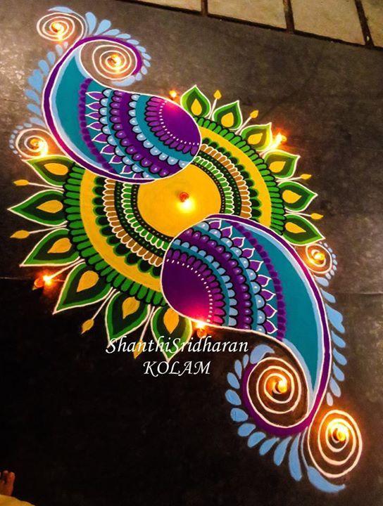Mandala Paisley Kolam Rangoli Blue Green Yellow Purple Round Circle Rangoli Designs Rangoli Designs Latest Rangoli Designs Flower