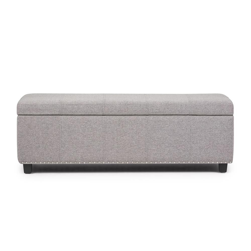 Brooklyn Max Huntsville 48 Inch Wide Transitional Rectangle Storage Ottoman In Cloud Grey Linen Look Fabric Ottoman Storage Ottoman Bench Home Depot