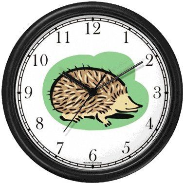 Porcupine or Hedgehog Animal Wall Clock by WatchBuddy Timepieces (Black Frame) WatchBuddy,http://www.amazon.com/dp/B000V4Z1JU/ref=cm_sw_r_pi_dp_5rOltb040GK955M0