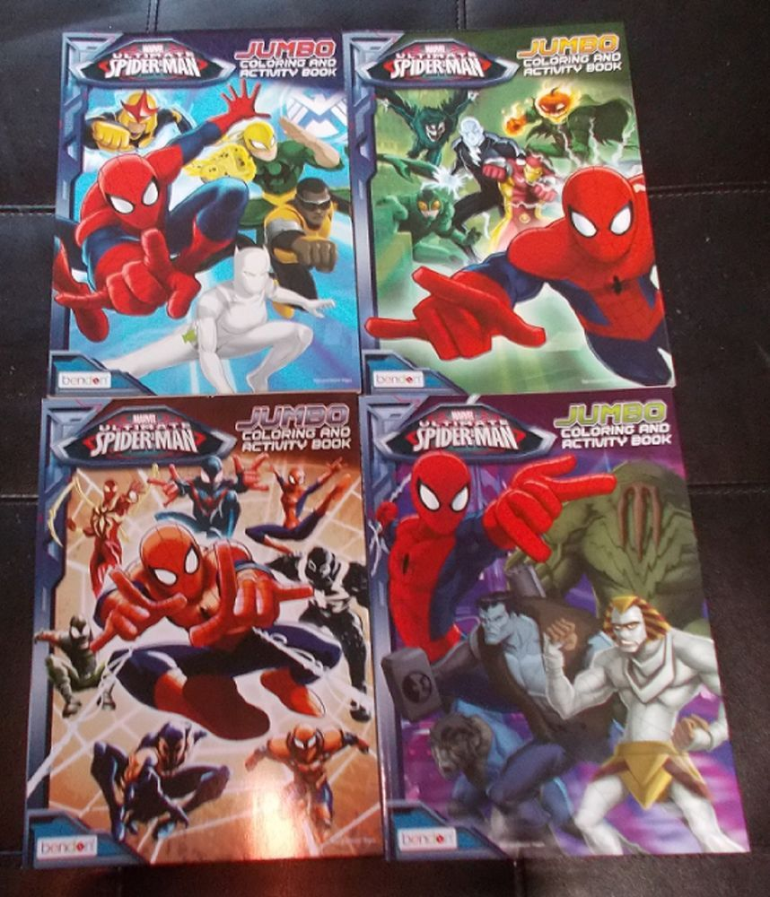 4 Different Spider Man Coloring Activity Books Jumbo Marvel Bendon New Books Spiderman Different Spiders