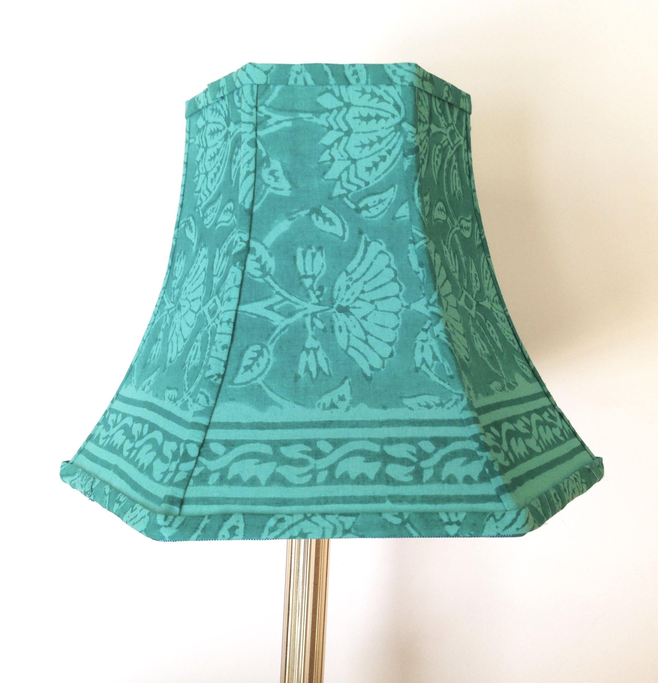 Turquoise Lamp Shade Block Print Fabric Vibrant Boho Block Printing Fabric Turquoise Lamp Turquoise Lamp Shade