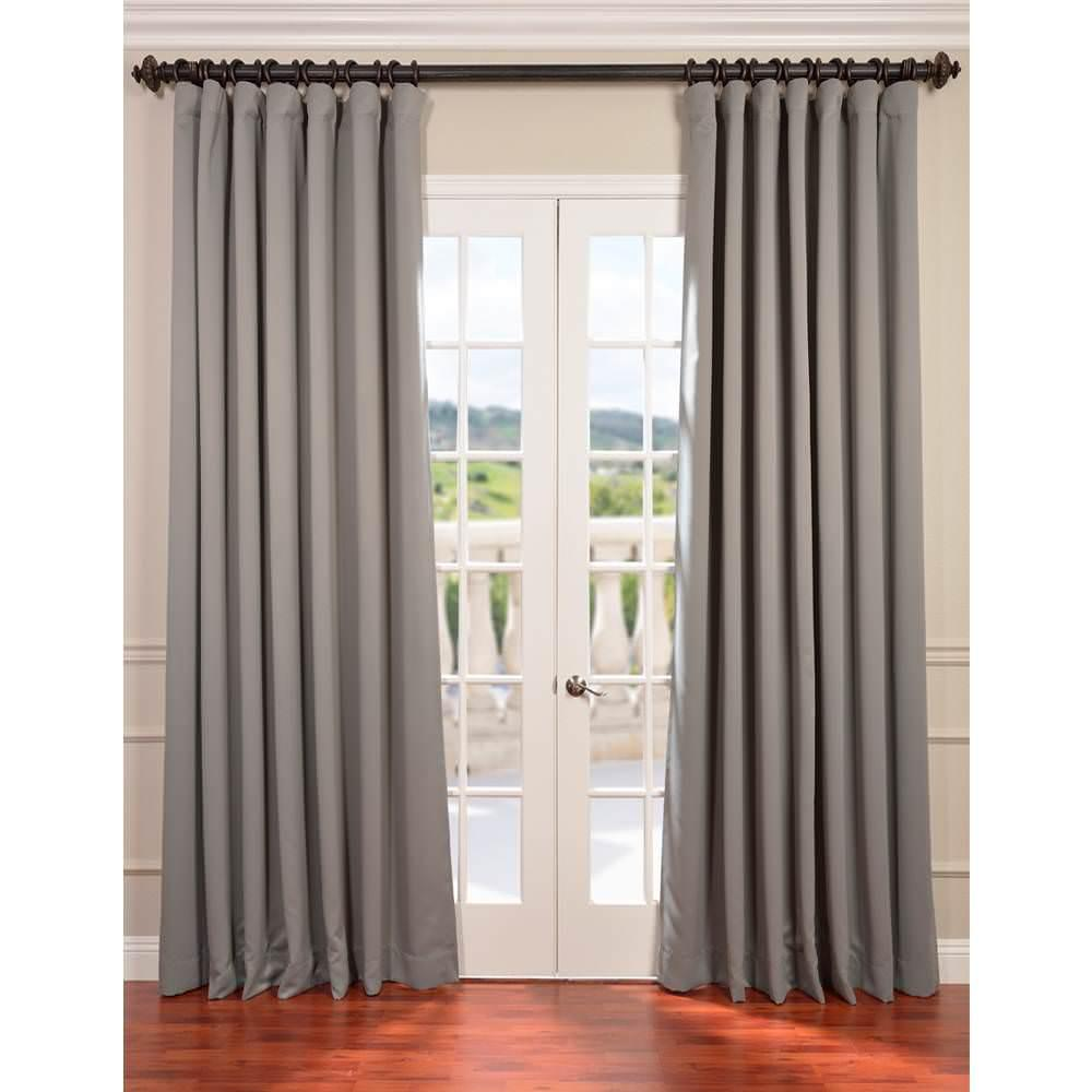 Exclusive Fabrics Furnishings Semi Opaque Neutral Grey Doublewide Blackout Curtain 100 In W X 108 In L 1 Panel Boch 174402 108 Dw The Home Depot Blackout Curtains Drapes Curtains Curtains Living Room