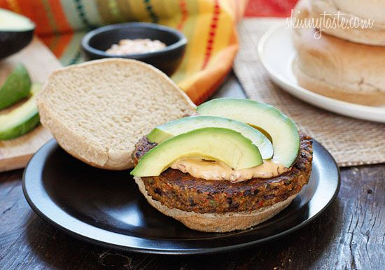 Spicy Black Bean Burgers with Chipotle Mayonnaise   Skinnytaste