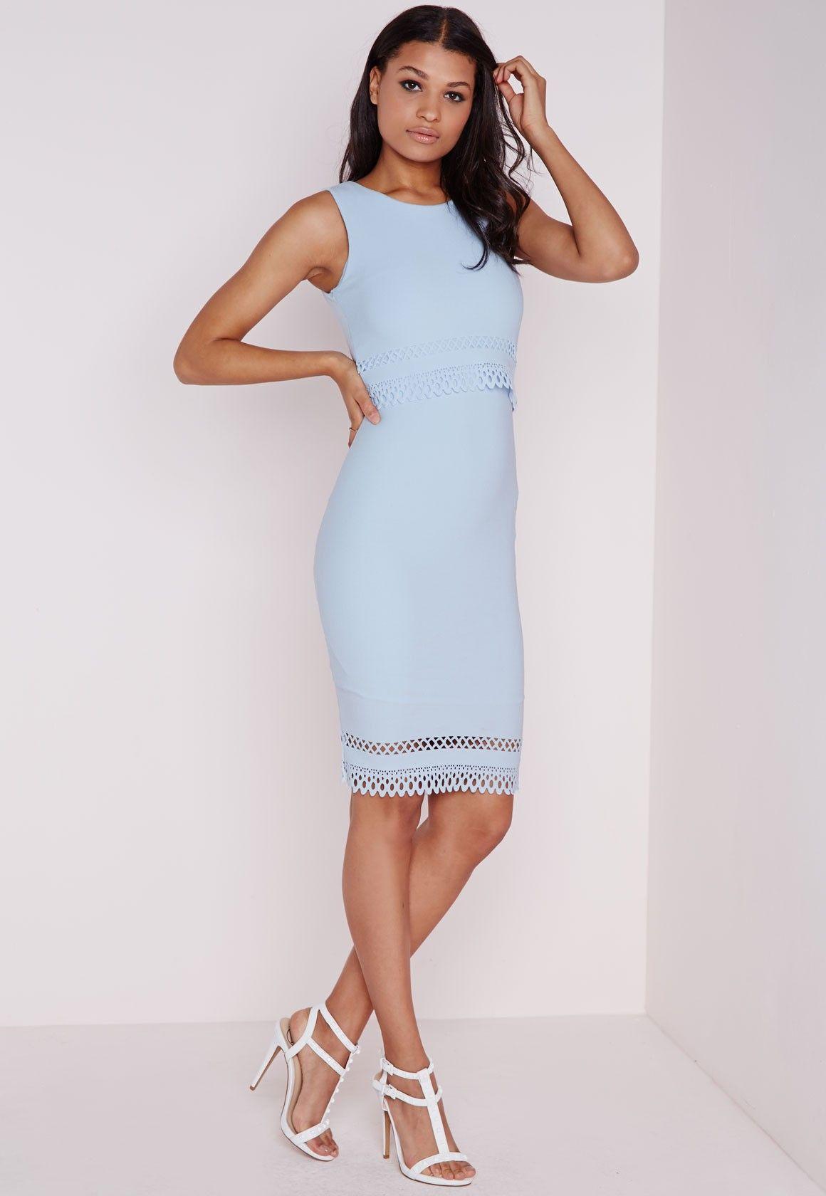 d95a71dd28 Laser Cut Midi Dress Powder Blue - Dresses - Midi Dresses - Missguided |  Ireland