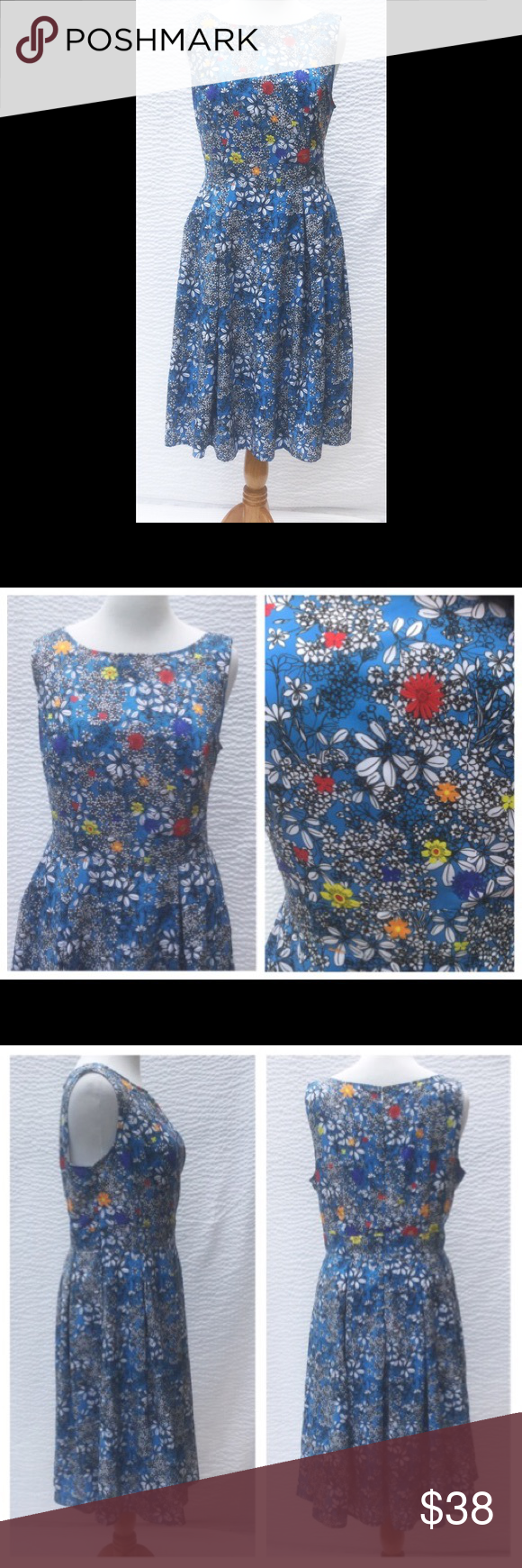 """New Eshakti Floral Crepe Fit & Flare Dress 20W New Eshakti floral print fit & flare crepe dress. Size 20W Measured flat: Underarm to underarm: 44"""" Waist: 41"""" Length: 44 ½"""" Eshakti size chart for 20W bust: 47"""" Princess seamed bodice, back hidden zipper w/ hook & eye closure. Banded waist, flared midi skirt, side seam pockets. Lined in polyester moss crepe. Polyester, woven crepe, no stretch. Machine wash. New w/ cut out Eshakti tag to prevent returning. eshakti Dresses Midi"""