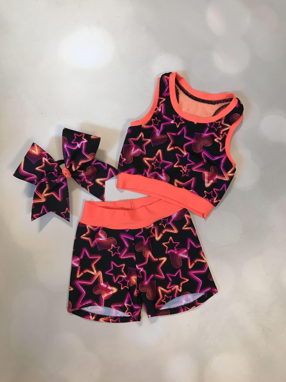 "The ""Maci"" Neon Orange Mesh back Star sport bra crop top"
