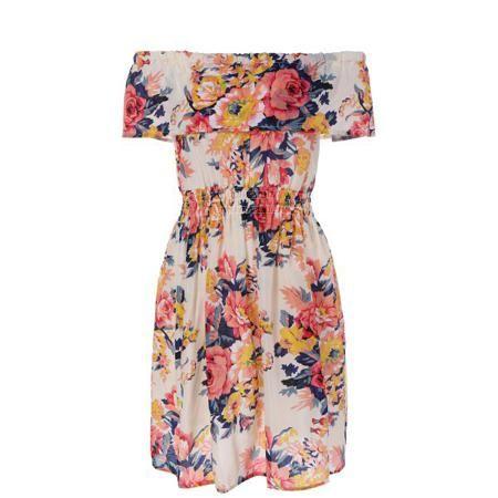 Off-The-Shoulder Shirred Floral Flare Dress