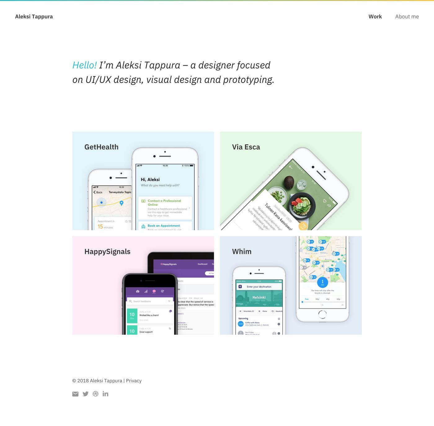 Simple homepage which highlights the projects. Use of blue