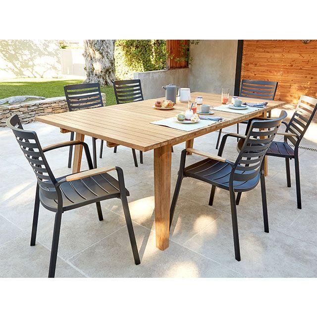 Table de jardin en bois fuji 179 220 x 110 cm castorama - Table jardin castorama ...
