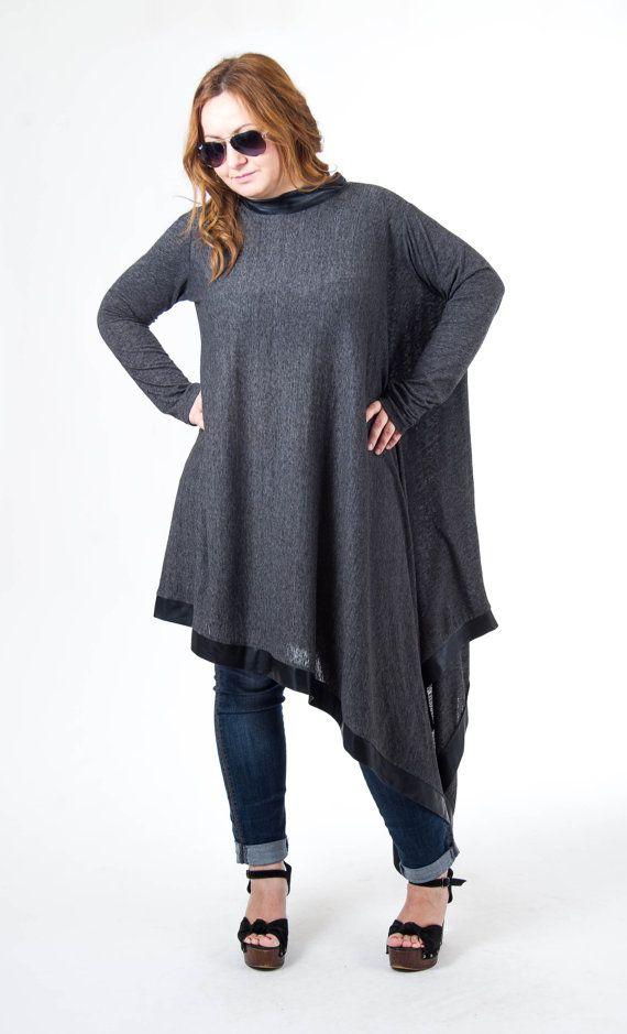 6d67b8513c1 Maxi Dress, Asymmetric Dress, Maxi Tunic, Oversize Dress, Plus Size  Clothing, Boho Dress, Long Sleeve Top, Poncho Dress, Graphite Dress