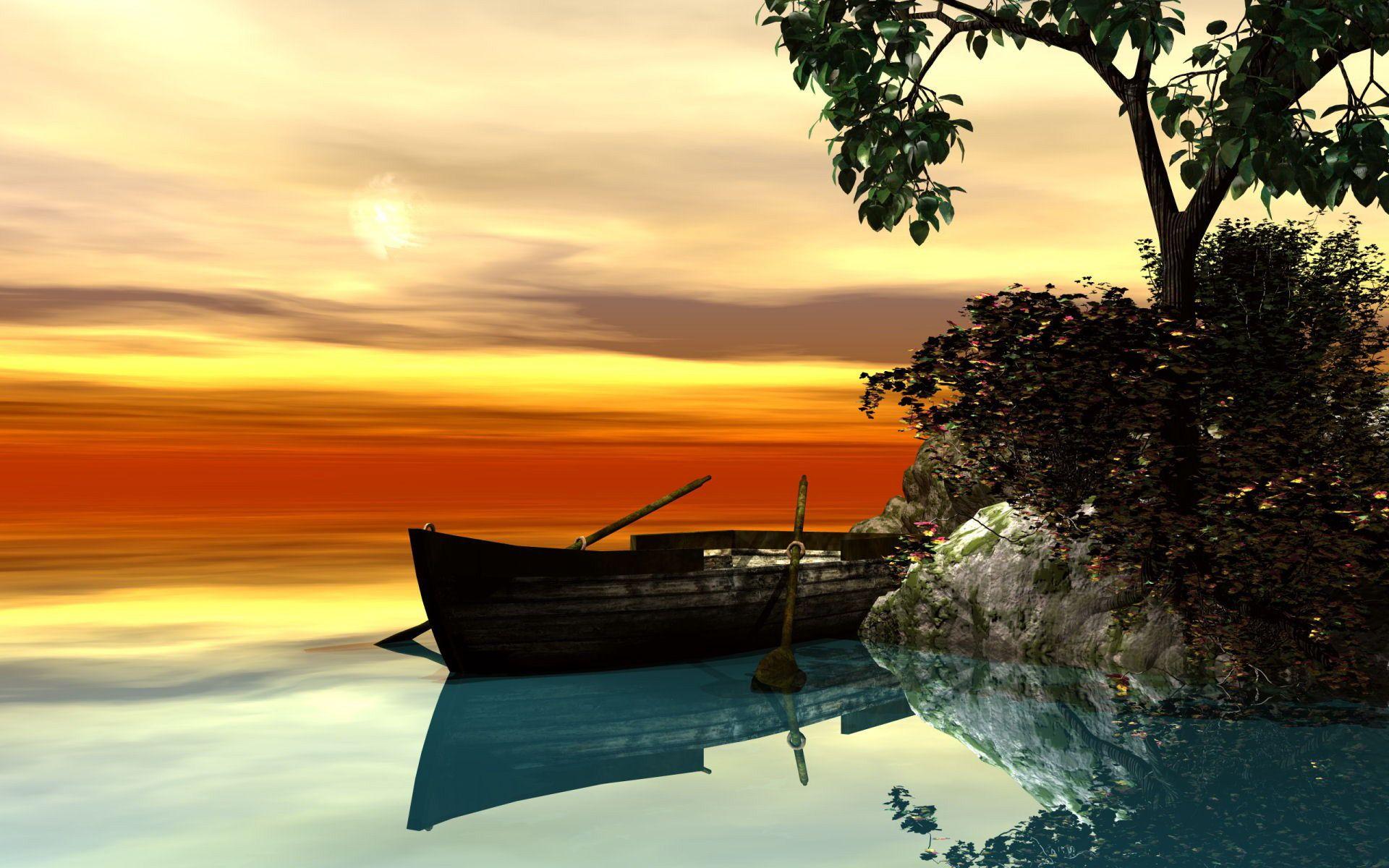 Rowboat In A Serene Scene Wallpaper Backgrounds Boat Wallpaper Background Images