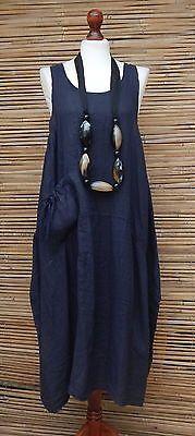 LAGENLOOK-LINEN-BOHO-LAYERING-LONG-TUNIC-DRESS-NAVY-SIZE12-18-OSFA-MADE-IN-ITALY