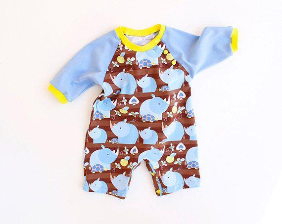 RHINO Baby ROMPER sewing pattern Pdf, Jumper, Knit, Kimono Long ...