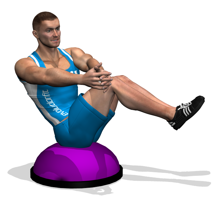 Bosu Ball Oblique Crunches: RUSSIAN TWIST ON BOSU INVOLVED MUSCLES DURING THE TRAINING