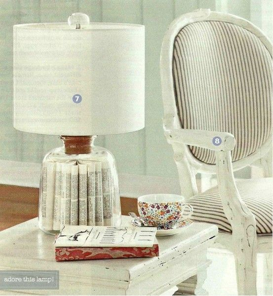 Cool table lamp from a book.
