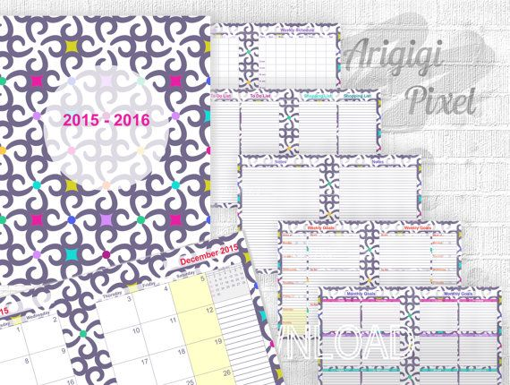 printable monthly calendar with organizer pages, letter size planer school year 2015 - 2016, instant download