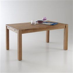 Table rectangulaire 2 allonges ch ne massif 6 10 for Table 10 couverts